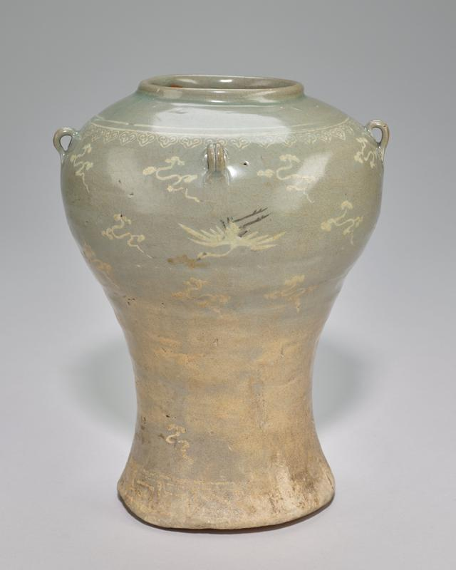 vase wide shoulders with curved and tapering body, 4 small loop handles and short neck; cranes and clouds motif; grey-green celadon glaze with white slip