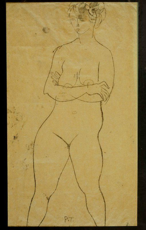 standing female nude, arms crossed