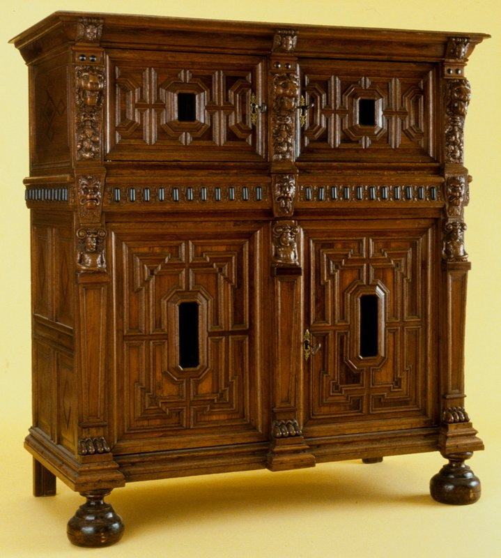 Kas or Zeeuws Cupboard, oak inlaid with various woods; in two sections. Donor Kunsthandel K. and V. Waterman