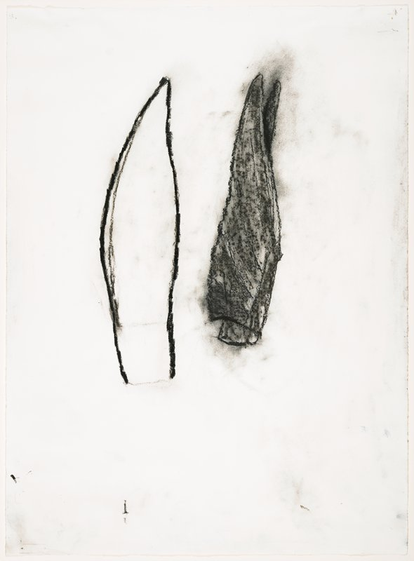 abstract with open upright pointed form on L and filled in black upright form on R
