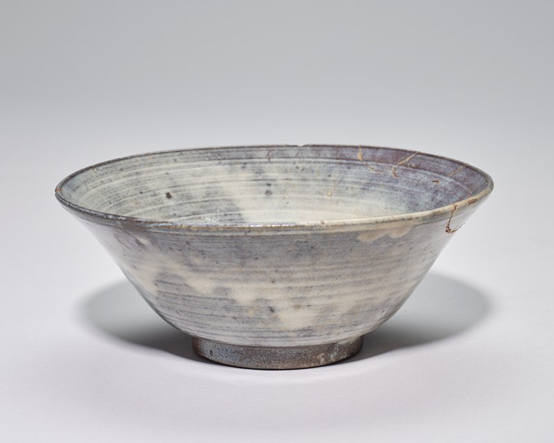 rice bowl, earthenware, grey blue glaze