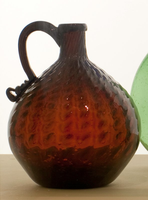 handled jug, deep reddish amber, 24 ribs, right-hand broken swirl with double impression; attributed to Zanesville; bottle and dishes from Ohio Manufacturers, 159 items in all, from the Walter Douglas Collection in Centerville, Ohio