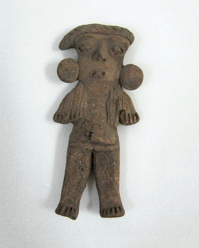 Standing Female Figure with flat earspools, incised long hair, diamond eyes, hairdo offset to right and incised in zigzags. Slash feet and hands, ceramic, Mexican (Chupicuaro), 250BC - 300AD