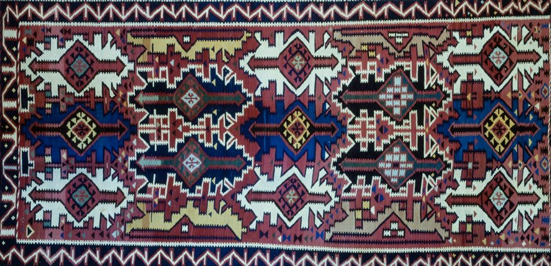 Rug, wool Persian, c.1920, kilim type.