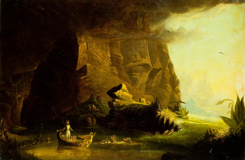 'Childhood' from 'The Voyage of Life Series'. In the style of Thomas Cole, unframed, unwrapped.