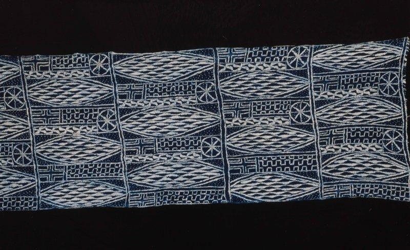 Royal Cloth, Bamileke, cotton, stripwoven, indigo dyed with raffia resist technique (tritik)