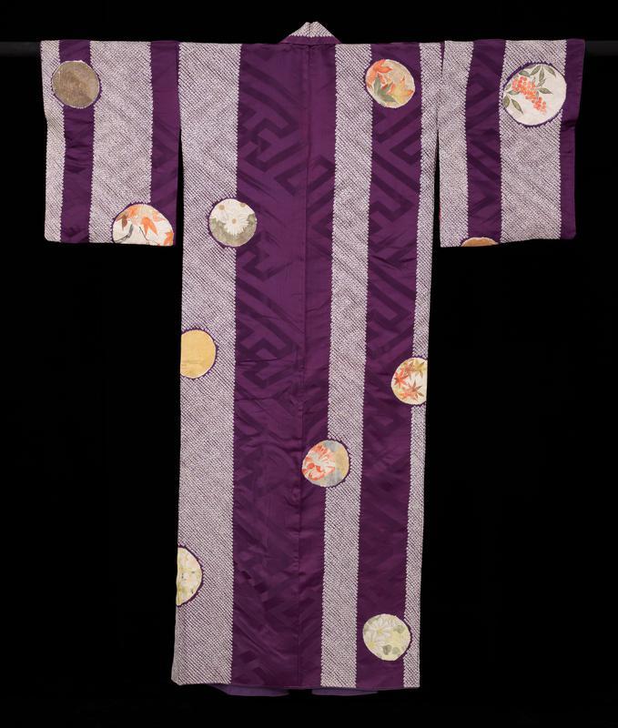 Kimono, about 1900, Meiji period, figured silk satin with tie dyed spots (shibori kanoko) and handpainted roundels.