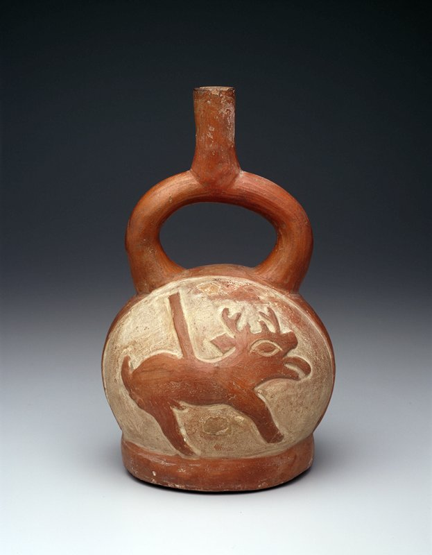 globular vessel, flat base, stirrup with centrally located vertical spout; 2 raised deer figures on cream slip background; base, deer, and spouts polished red clay