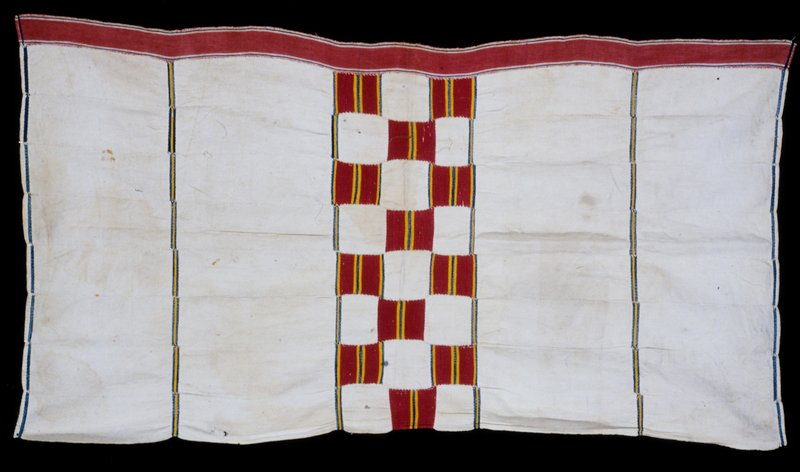 panel, white strip cloth with horizontal of red, green with yellow and red border; cotton