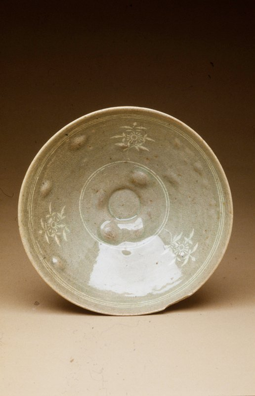bowl, with inlaid floral pattern