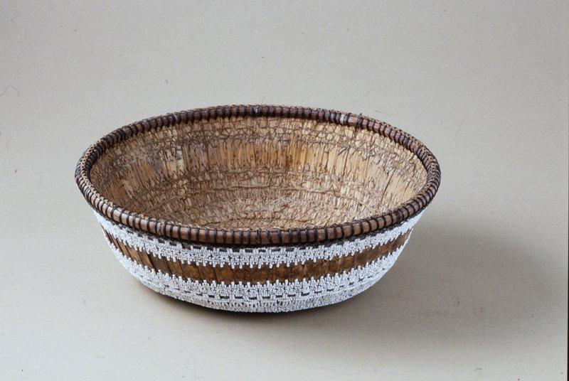 Temple Basket, fiber, stitching, beadwork; mirror in base missing