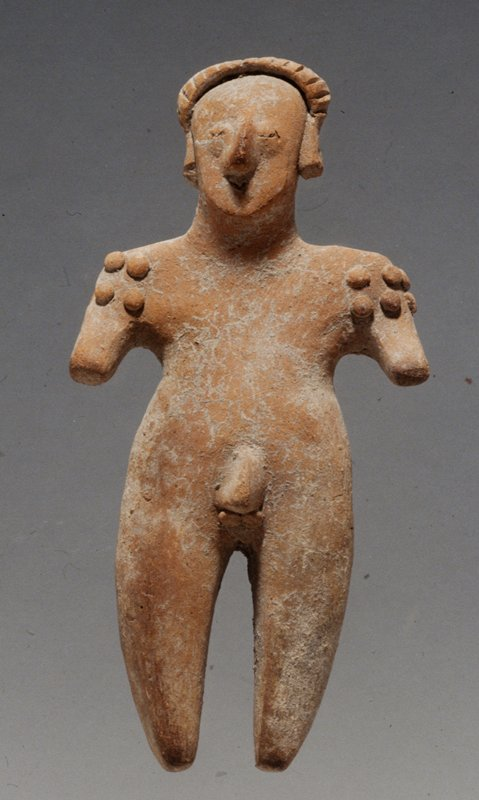 STANDING MALE FIGURE, arms out from body; ritual shoulder scarification; applique hair and headband unburnished red/buff clay