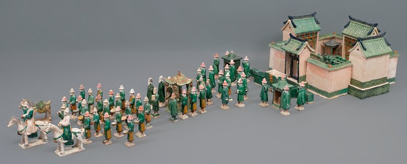 palanquin bearer from wedding procession; three color glazed ceramic; one set of 33 pieces, including wedding party, palanquin, wedding chests, ceremonial food and wedding party