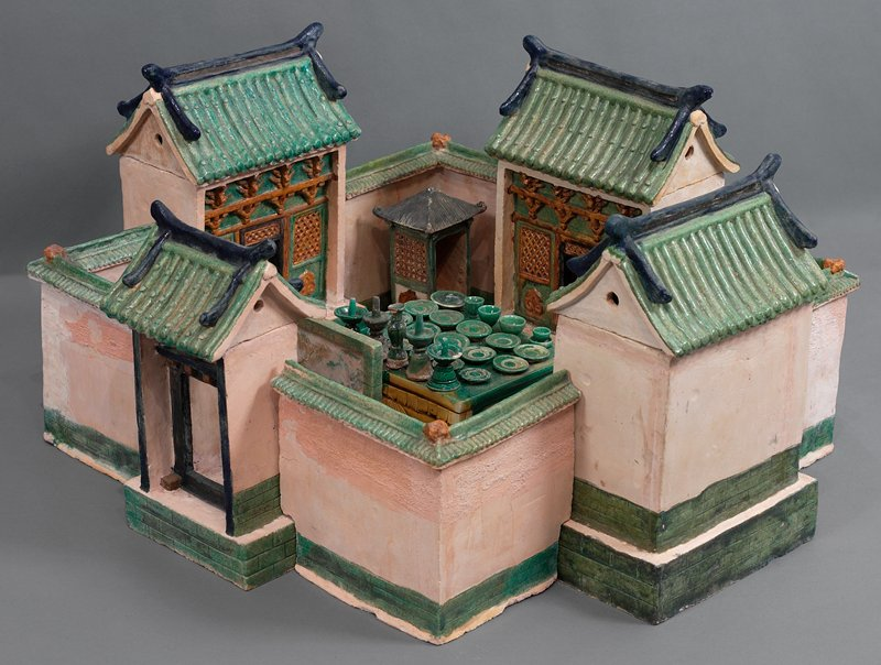 food plate (cake or bread, green) from wedding procession; three color glazed ceramic; one set of 33 pieces, including wedding party, palanquin, wedding chests, ceremonial food and wedding party