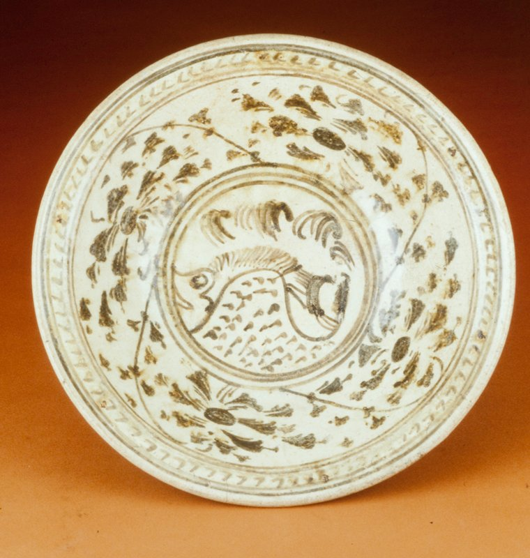Sukhothai Plate, earthenware with fish and floral decoration, underglaze brown.
