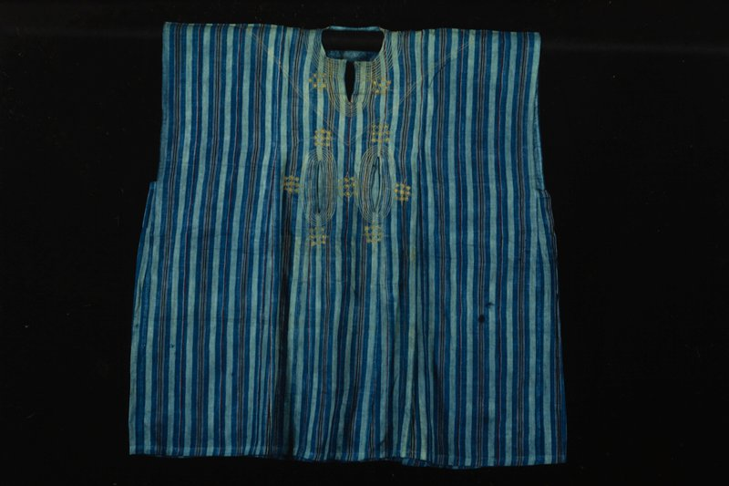 strip woven cloth, machine sewn, embroidered; owned by Chief Ayo Akinsanya
