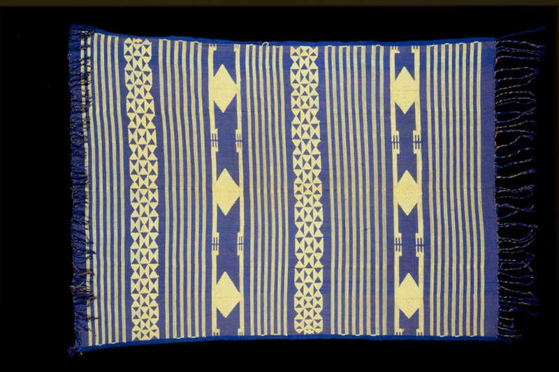 Blue and yellow ground with supplementary weft patterning