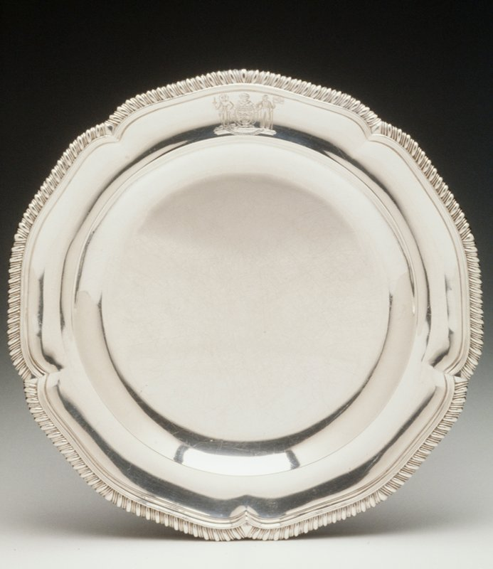 gadrooned shaped rims, Coat of Arms of Sir Richard King, Admiral of the White; Holiday Traditions, Chas. Dining Room