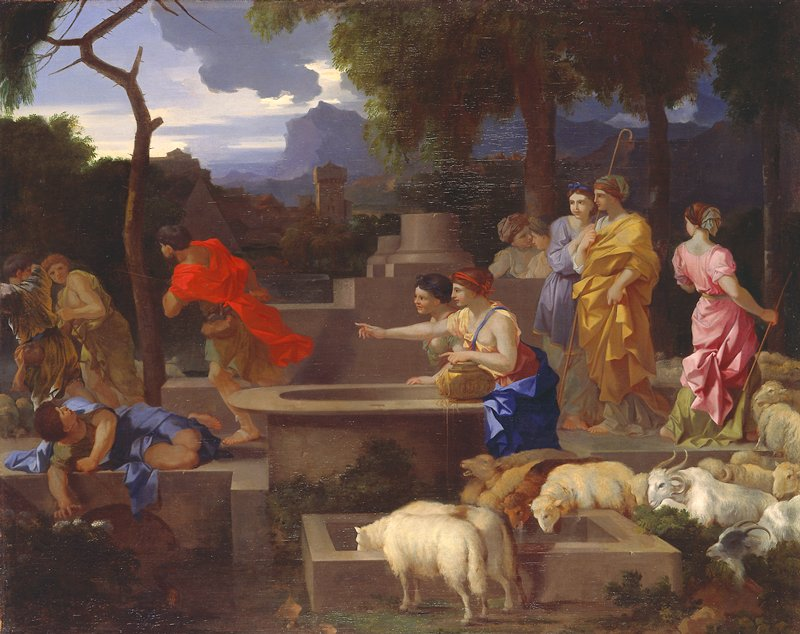 Religion: OT. Moses at a well meets the seven daughters of Jethro