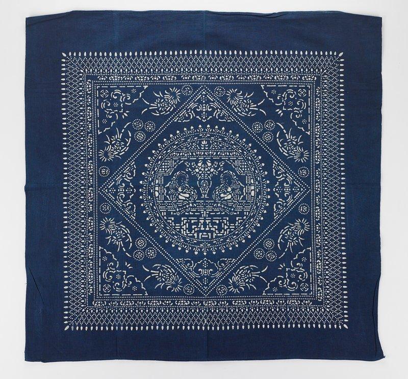 batik cotton with indigo blue floral design