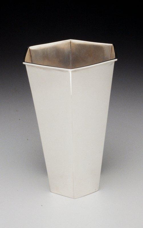 six sided vase, flaring outward from base