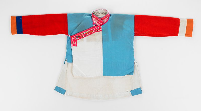 turquoise coat with red arms and fuschia embroidered trim color