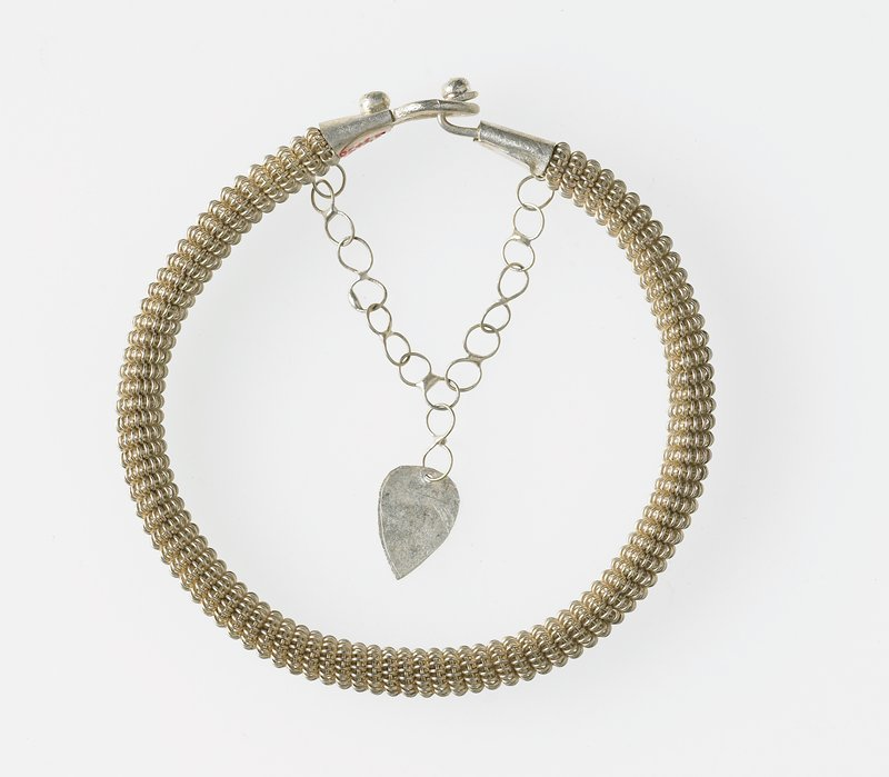 bracelet with clasp and safety chain; tight spiral design