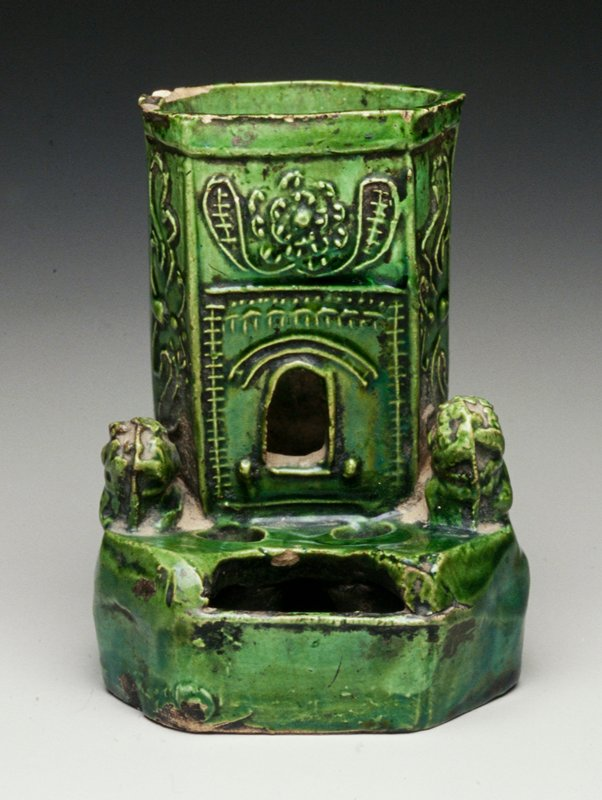 building entrance with flanking lions; ink wells and resevoir in front of open door; green glaze; purchased with BBD funds by Qi Xiyu
