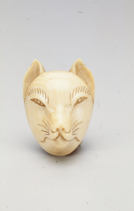 fox mask with two carved cords on back