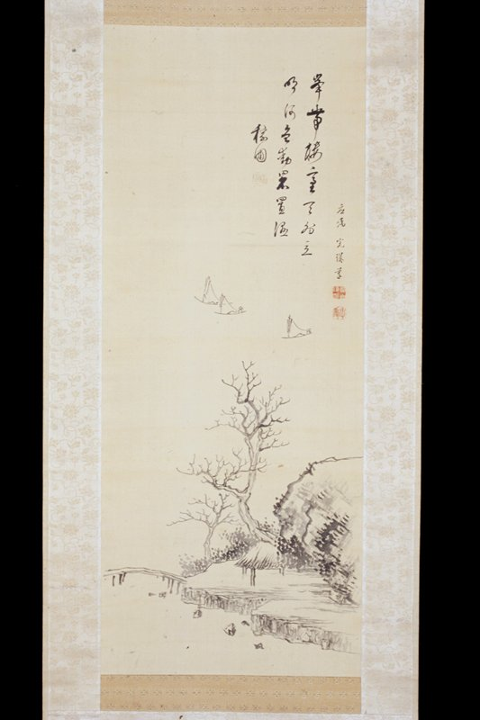 an empty pavilion, a cliff, a footbridge and bare trees emerge from the lower right corner; three sailboats float in the empty water above; couplet in Chinese running script at URC