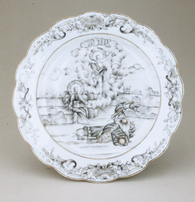 Resurrection Plate, hard paste porcelain, scalloped edge, religious scene in black and grey with gold on white ground, part of a set, Chinese Export XVIIIc cat. card dims H 1-1/8 x W 8-5/16'
