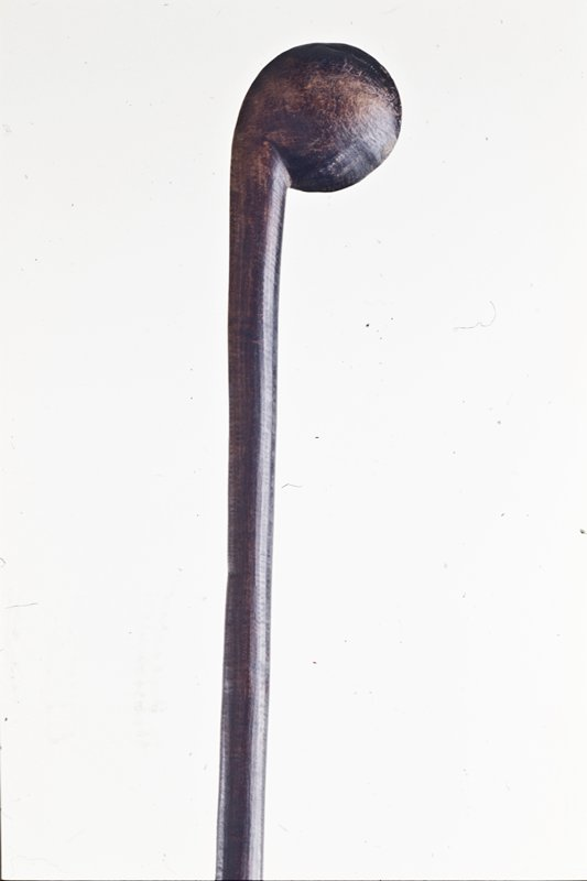 Staff with flat, round element on top