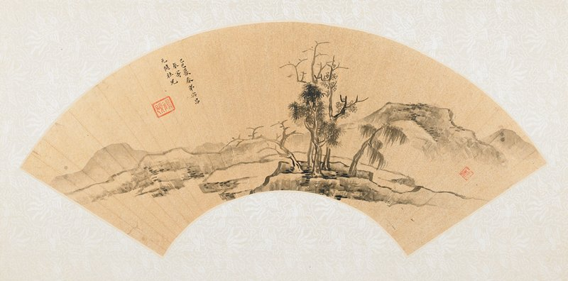 fan mounted as an album leaf; stand of trees on a rocky peninsula at foreground center, water at either side with distant mountain ranges