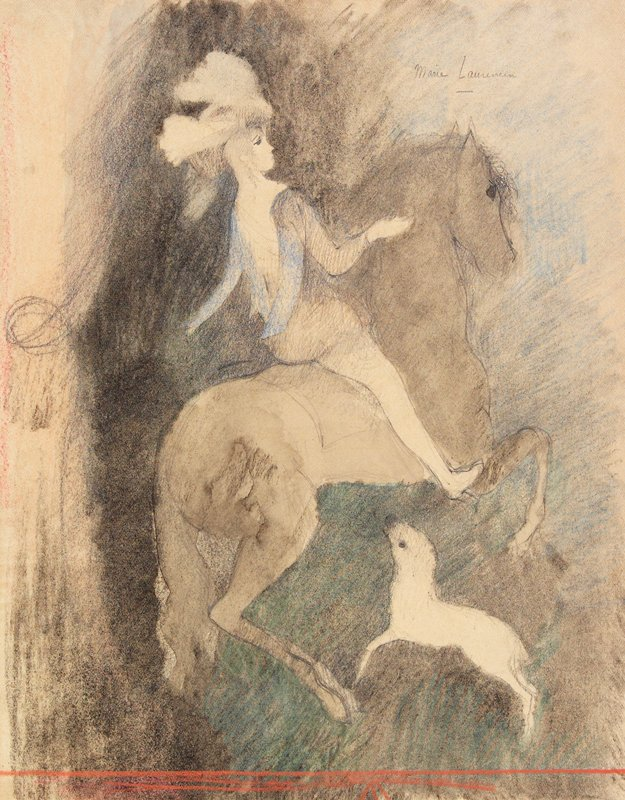Woman astride a rearing horse, facing to our right; a dog jumps below horse