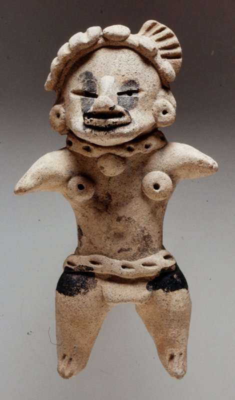 Standing Female Figure, buff clay with black chapopote markings, applique details.