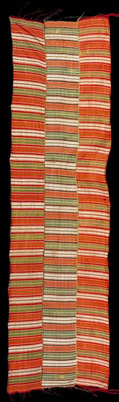 3 panels seamed with embroidery stitches; stripes, green, red, white, orange, black