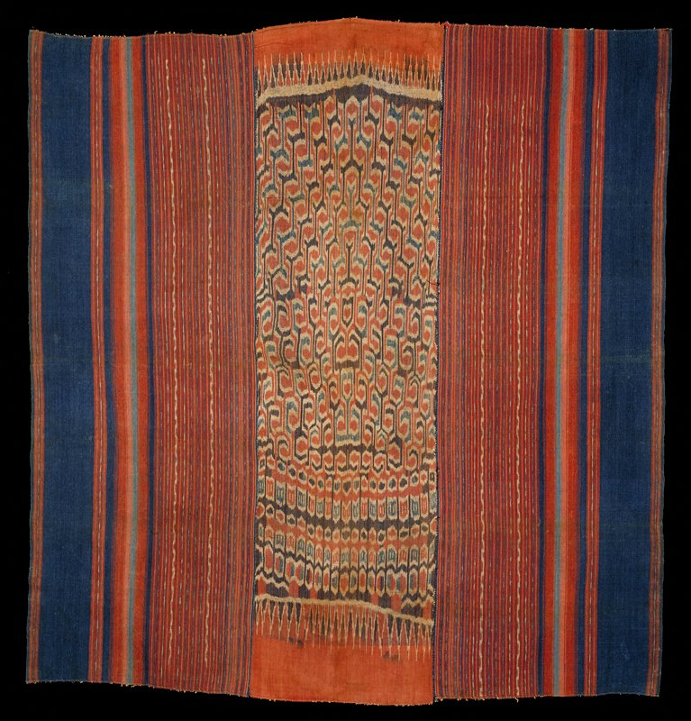 3 panels hand stitched together; ikat vertical stripes in rust, cream, indigo