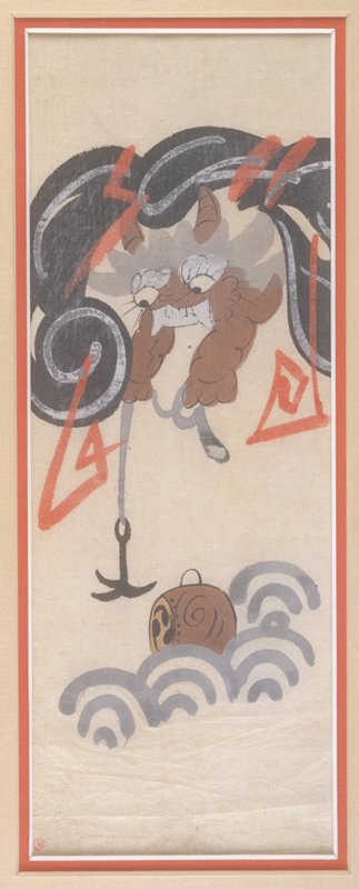 Horned demon emerging from black clouds with white and red streaks (lightning), extending a hook on a rope down to a barrel-like object floating on stylized waves; Matted