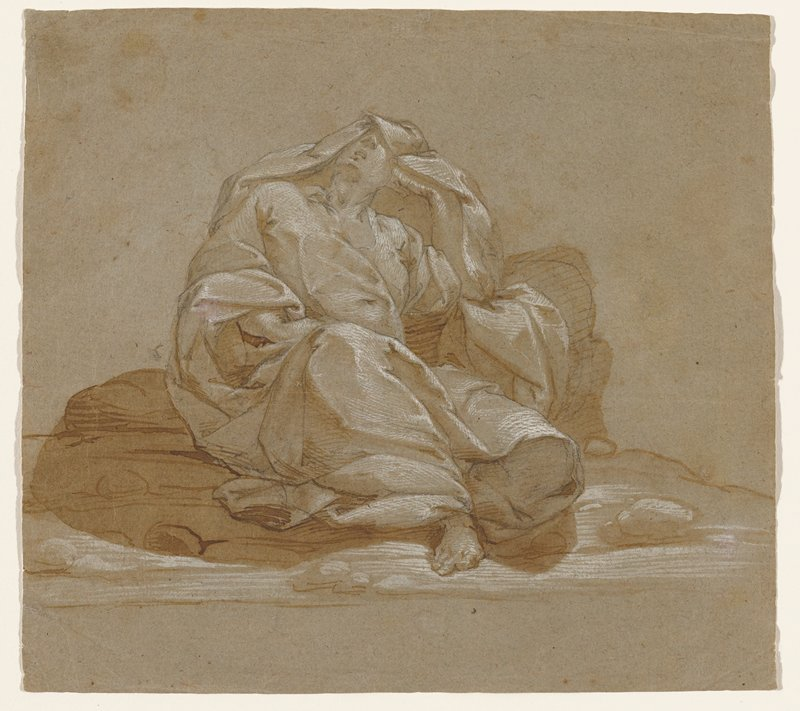 seated figure wearing long drapery, including drapery in a hood over head; figure had PR knee raised and rests PL elbow on a rock, with head on PL hand, looking up; rocky ground