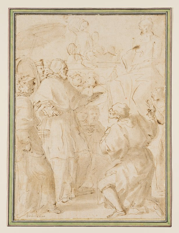 mounted to ivory sheet with grey, green and pink borders; sketch; figure kneeling on one knee in LRC; standing figures at left; sketchy tall figures (sculpture?) in background