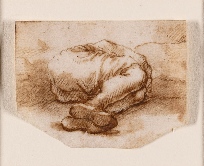 foreshortened figure lying down, with feet, legs, backside and PR arm visible