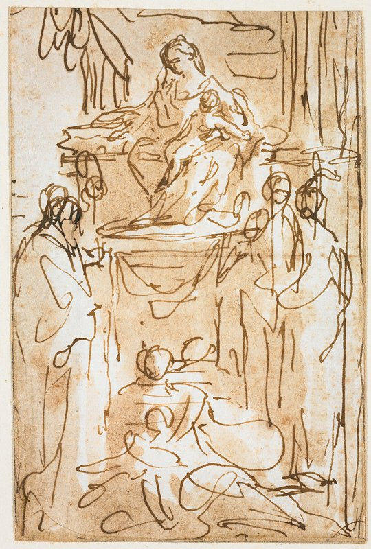mounted on ivory sheet with blue-grey border; line sketch with enthroned Madonna and Christ child on very tall throne with at least two figures standing on right and one on left, another possible seated figure in front