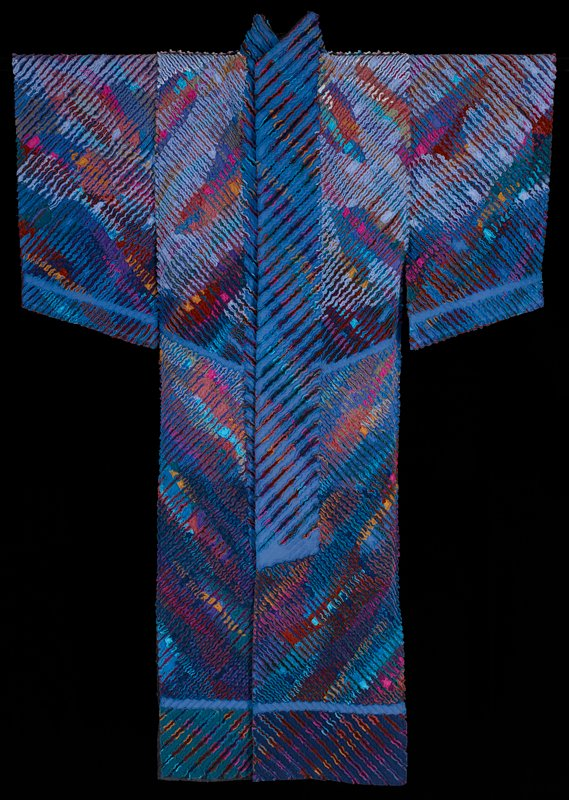 Swing dynasty, 1986, art wear coat, dyed, slashed and layered fabric; cotton; L.98 x W.68-½ in.