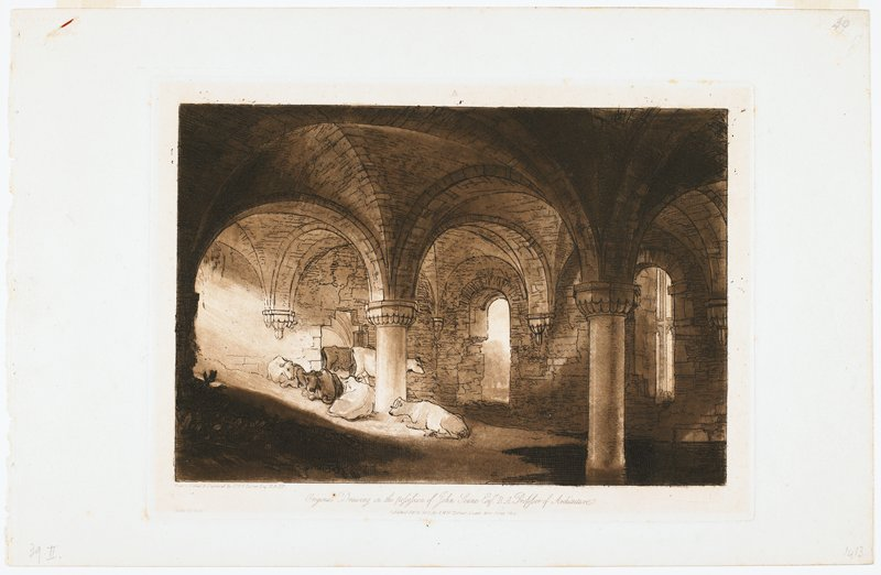 two standing cows and four cows lying down on sloping dirt in sunbeams coming through hidden opening at left in a groin vaulted interior; brown and black