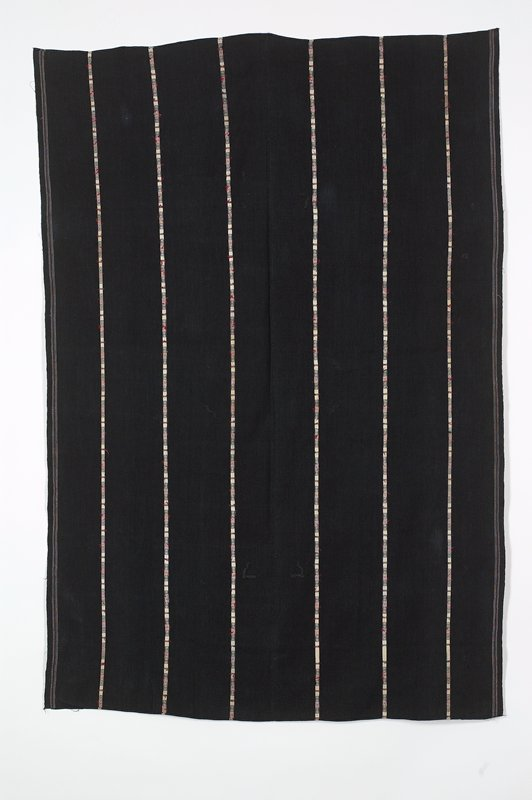 navy ground with vertical stripes in white with red and blue supplementary weft patterning