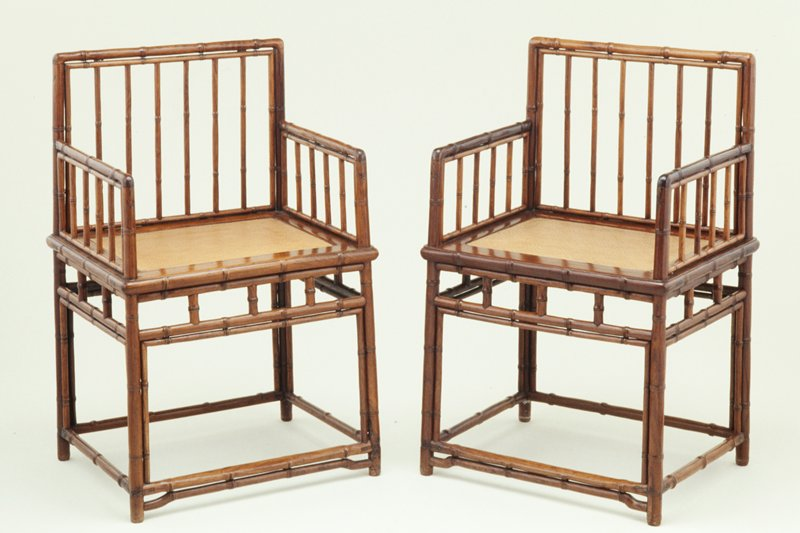 Shortback armchair carved to simulate bamboo, one of a pair, huanghuali hardwood, Ming Dynasty, China