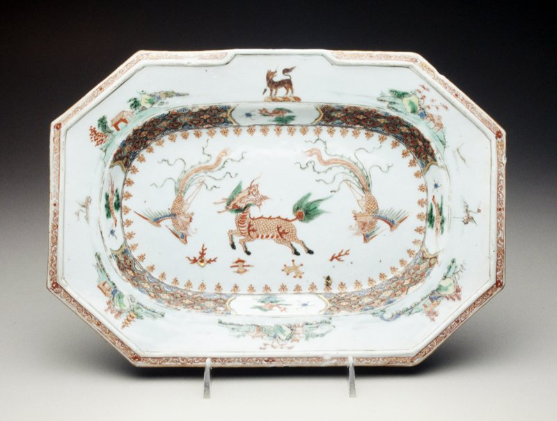 octagonal platter central Qilin in iron-red, gilt and green, borders with arms of Wolff Family