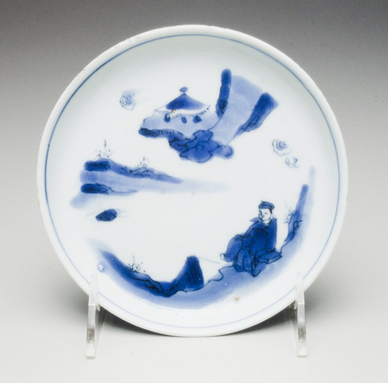 one of five blue and white plates; Tianqi/Congzhen; landscapes, two with two scholars seated below a tree; three with single sage on terrace