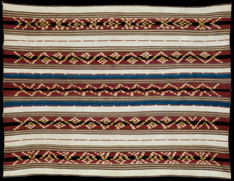 poncho, man's outer garment, ceremonial, warp faced Ikat with warp faced striping