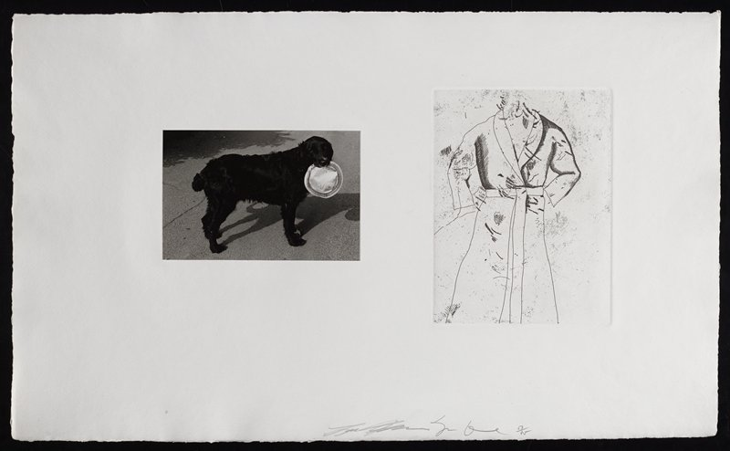 photo of a black dog holding a tin pie plate on the L side of sheet; etching of bathrobe on R side